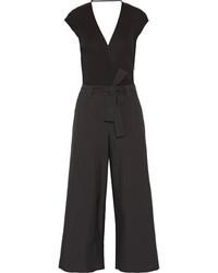 Brunello Cucinelli Belted Ribbed Cotton And Gazar Jumpsuit Black