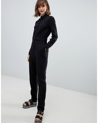 Mango Button Front Boiler Suit In Black