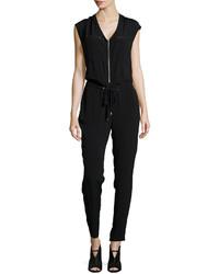 Rebecca Taylor Cap Sleeve Crepe Drawstring Jumpsuit Black