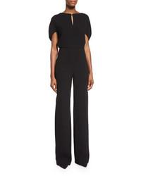 Lela Rose Cape Sleeve Keyhole Jumpsuit Black