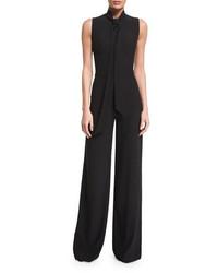 Ralph Lauren Collection Sheryl Tie Neck Wide Leg Jumpsuit Black