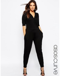 Asos Curve Wrap Jumpsuit With 34 Sleeve