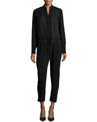 Halston Heritage Long Sleeve Drawstring Waist Jumpsuit Black