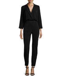 Halston Heritage Long Sleeve Slim Leg Jumpsuit Black