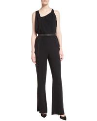 Halston Heritage Sleeveless Belted Jumpsuit Black