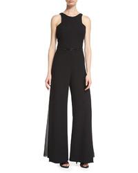 Halston Heritage Sleeveless Wide Leg Jumpsuit Black