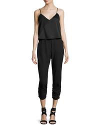 Parker Ivy Popover Crepe Jumpsuit Black