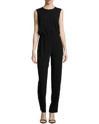 BCBGMAXAZRIA Lace Trim Sleeveless Jumpsuit Black