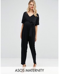 Asos Maternity Belted Jumpsuit With Kimono Sleeve