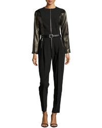 Michael Kors Michl Kors Long Sleeve Belted Jumpsuit W Leather