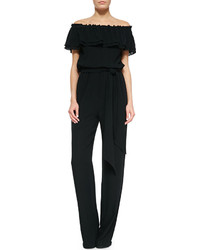 Michael Kors Michl Kors Off The Shoulder Smocked Jumpsuit Black