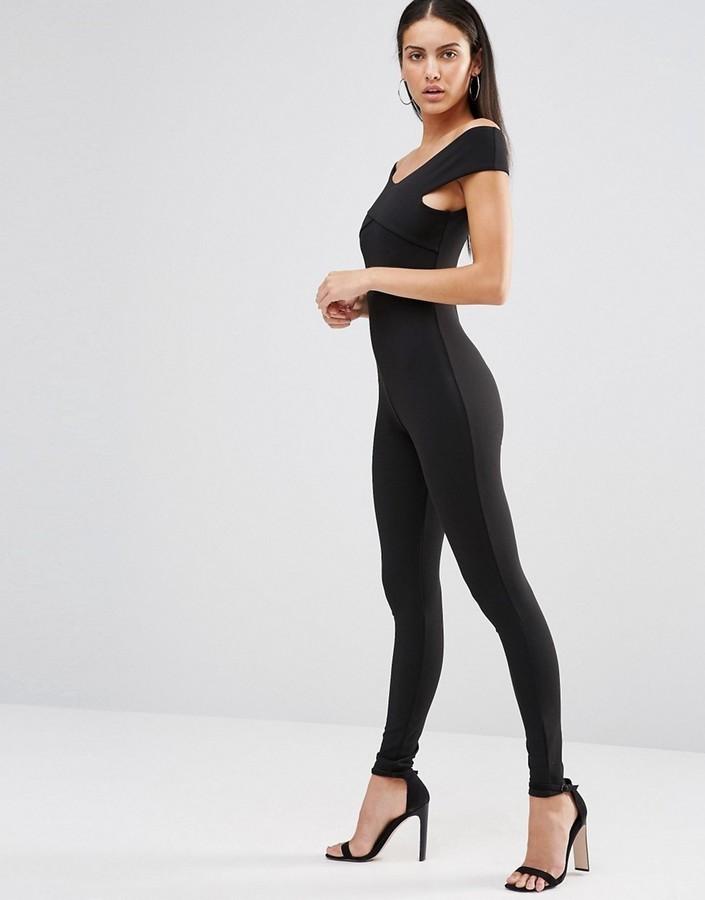 1e4cdeeb4e7 Women s Fashion › Jumpsuits › Black Jumpsuits Missguided Missguided Cross  Front Bardot Jumpsuit