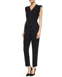 Kate Spade New York Crepe V Neck Jumpsuit Black