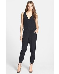 Rebecca Minkoff Mara Surplice Silk Jumpsuit Black 0
