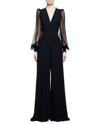 Alexander McQueen Sheer Sleeve Wide Leg Crepe Jumpsuit Black