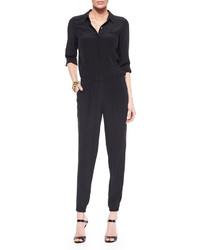 Eileen Fisher Silk Crepe De Chine Shirtwaist Jumpsuit