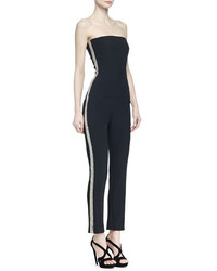 Alexander McQueen Strapless Beaded Stripe Jumpsuit