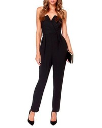 ChicNova Strapless Deep V Black Jumpsuits Rompers