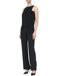 Thakoon Addition Sleeveless Layered Jumpsuit Black