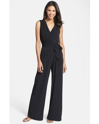 Vince Camuto Faux Wrap Jersey Jumpsuit Black Medium