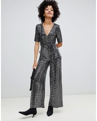 New Look Wrap Jumpsuit In Silver Glitter