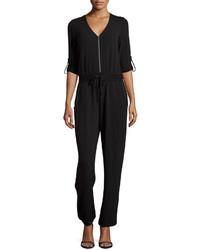Neiman Marcus Zip Front Tab Sleeve Jumpsuit Black