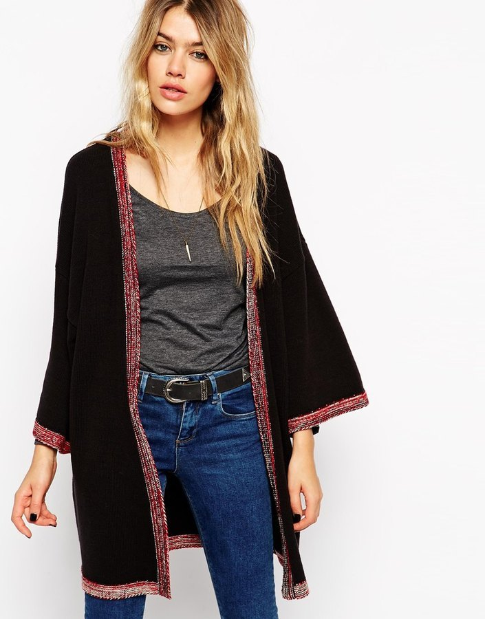 Asos Collection Longline Kimono Cardigan With Embroidered Tipping ...