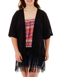 Arizona Elbow Sleeve Fringe Kimono Cardigan Juniors Plus