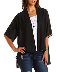 Charlotte Russe Embroidered Back High Low Kimono Top