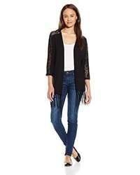 It's Our Time Juniors 34 Sleeve Knit Kimono W Lace Insert And Fringe