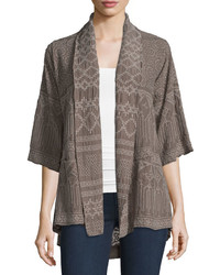 Johnny Was Tribal Half Sleeve Embroidered Kimono Jacket Plus Size
