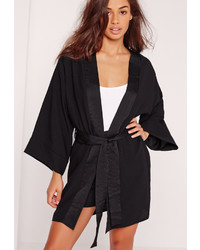 Missguided Kimono Sleeve Tie Waist Jacket Black