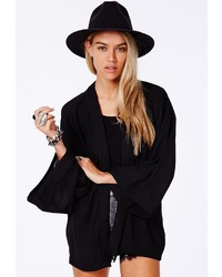 Missguided Short Chiffon Kimono Black