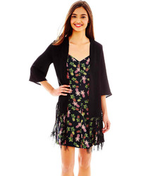 Nanette Lepore L Amour By Lamour By Elbow Sleeve Fringe Trim Kimono