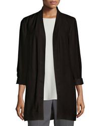 Eileen Fisher Silk Georgette Kimono Jacket Black