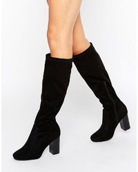 Boohoo Knee High Block Heeled Boot