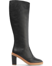 See by Chloe See By Chlo Scalloped Textured Leather Knee Boots Black