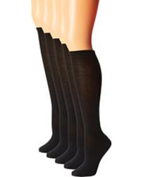 Steve Madden 6 Pack Solid Black Knee High