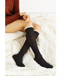 Urban Outfitters Crochet Button Cuff Knee High Sock