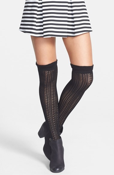Over the knee socks look most adorable styled over tights and leggings in either slouchy or straight styles with a mini skirt or cutoff shorts. Choose from sheer, patterned, ruffle, and mesh styles to find your favorite pair of over the knee socks.