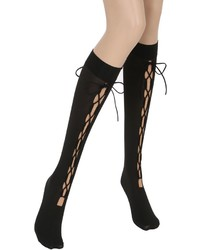 Wolford Lace Up 40 Den Knee High Socks