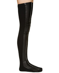 Sacai Luck Charcoal Leather Knit Thigh High Socks