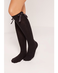 Missguided Knee High Bow Socks Black