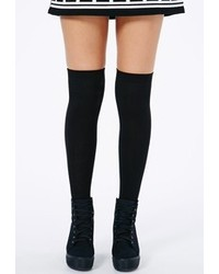 Missguided Phiphi Black Over Knee Socks