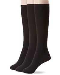Nine West Textured Diamond And Solid Flat Knit Knee High 3 Pair Sock