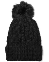 Eugenia Kim Andrea Faux Fur Trimmed Cable Knit Alpaca Beanie Black
