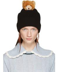 Dolce & Gabbana Black Bear Knit Beanie