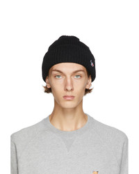 MAISON KITSUNÉ Black Ribbed Fox Patch Beanie