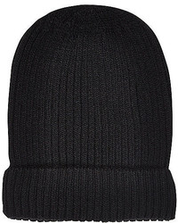 River Island Black Ribbed Knitted Beanie Hat