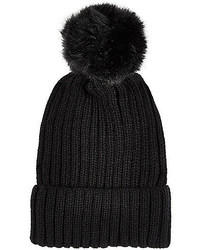River Island Black Ribbed Pom Pom Beanie